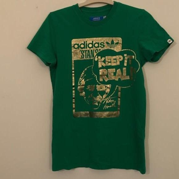 on sale 0e2bb 76ab3 adidas Tops - Adidas Stan Smith Green Gold Logo Tee Keep it Real